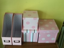Home Office Pink & White Decorative Boxes - 5 Pieces in The Woodlands, Texas