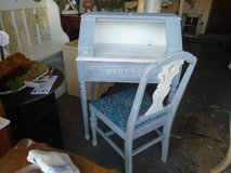french blue little secretary desk and chair in Glendale Heights, Illinois