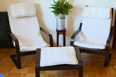 2 Ikea Poang Chairs with stool in Ramstein, Germany