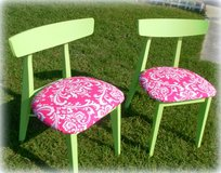 Refinished Beachy Lime Green and Pink Damask Vintage Kitchen Chairs in Wilmington, North Carolina