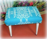 Redesigned Turquoise Foot Stool Ottoman in Wilmington, North Carolina