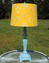 Painted Turquoise Pineapple Lamp with Yellow Stenciled Shade, Vintage Cast Iron Base in Wilmington, North Carolina