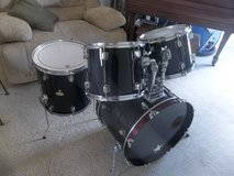 "WOODEN SHELL DRUM SET / KIT WITH BLACK WRAP (12', 13"", 16"" & 22"")! in Morris, Illinois"