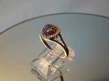 1/5 CT. T.W. Enhanced Cognac and White Diamond Cluster Heart Ring, 10K Rose Gold Size 5.5 in Camp Lejeune, North Carolina
