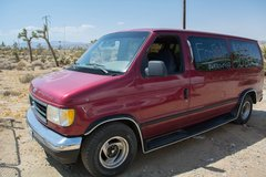 Red 1993 Ford E 150 Club Van in Yucca Valley, California