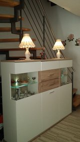 Dinning room  Möbel Martin- Vito Burgund Highboard white frosted with two set LED in Ramstein, Germany