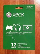 Microsoft 12 Month Xbox Live Gold Membership in Fort Leonard Wood, Missouri