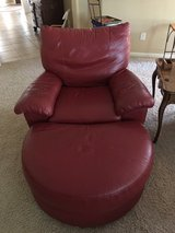 Ikea Recliner and Ottoman, Red Leather in Kingwood, Texas