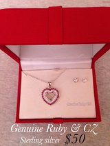 Genuine Ruby Heart Necklace set in Fort Campbell, Kentucky