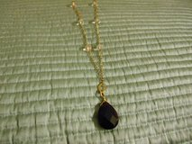 Necklace Gold Tone Chain with an faux amber cut pendent and clear beads in Phoenix, Arizona