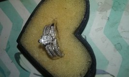Wedding Band 3 piece set teardrop one tenth clusters of a diamond in Fort Drum, New York