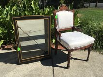 Curio cabinet and Victorian side chair in Fort Belvoir, Virginia