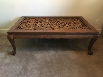 Antique Teak Wood Coffee Table with Hand-Carved Inlay in Fairfax, Virginia