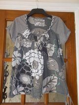 Top size 12 NEXT Grey patterned sequins cap sleeve t-shirt in Cambridge, UK