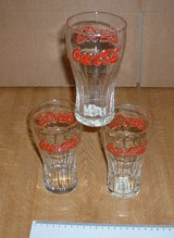COKE COLA GLASSES X 3 in Lakenheath, UK