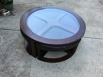 Coffee Table with 4 stools that slide under in Fort Lewis, Washington