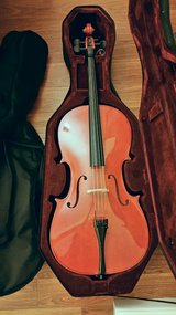 Cecilio Solid Wood Cello with Hard & Soft Case, Stand, Bow, Rosin, Strings, Tuner in Eglin AFB, Florida