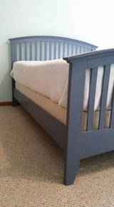 Chalk painted Queen Bed with Matress and Box spring in Fort Drum, New York