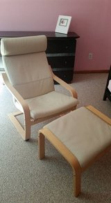 leather ikea poang chair + foot stool in Fort Drum, New York