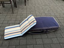 4 Blue Outdoor chair cushions - never used - made by Royal in Ramstein, Germany
