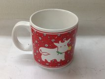 JSNY Country Farm Animals Floral Print Mug - White Cow on Red Calico Print in Kingwood, Texas