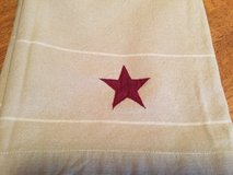Beige Lined Valance w/Red Stars (2) in Chicago, Illinois