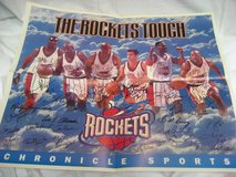 Houston Rockets NBA Newspaper Poster Signed 1995 Championship Barkley Autograph in Kingwood, Texas