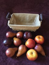 Rustic basket with burlap lining and fruit in Vacaville, California