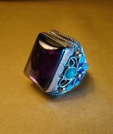 Chinese Antique Silver & Enamel Carved Flowers Mosaic Blue Zircon Ring in Camp Lejeune, North Carolina