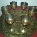 Brass Tray with 6 Goblets in Fort Sam Houston, Texas