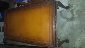 Beautiful leather top antique coffee table in Fairfield, California