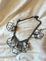 Black metal and pearl bead Prism Necklace in Fairfield, California