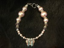 Pink Pearl Dog Necklace with Butterfly Charm in Kingwood, Texas