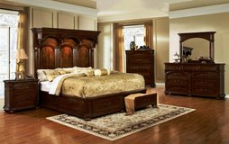 Tudor King Size Bed Set - bed + dresser + mirror + 1 night stand + Delivery  -  NEW  COLOR in Lakenheath, UK