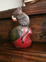 Vintage cast iron mouse on apple doorstop in Cleveland, Texas