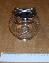 VINTAGE GLASS/CHROME SUGAR/BONBON BOWL WITH TONGS in Lakenheath, UK