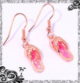 New - Dainty Pink Fire Opal with Rose Gold Flip Flop Earrings in Alamogordo, New Mexico