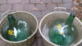 Two same size teal glass demi johns. Clean in Wiesbaden, GE