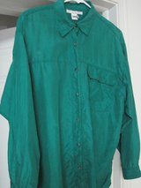 Ladies' 3XL Silk Dress Blouse.  Stated size L but measures 3XL, or size 20.  Beautiful Emerald G... in Houston, Texas