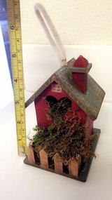 Hand painted miniature decorative bird house with moss; small birdhouse in Oceanside, California