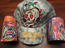 Reduced: Brand New Ed Hardy Trucker Hat & 2 can coozies in Clarksville, Tennessee