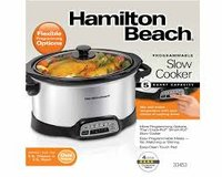REDUCED! HAMILTON BEACH PROGRAMMABLE 5 QUART SLOW COOKER USED ONCE, IN BOX in Cherry Point, North Carolina