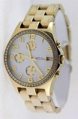 REDUCED! MARC BY MARC JACOBS HENRY GOLDTONE CRYSTAL LADIES WATCH WITH EXTRA LINKS in Cherry Point, North Carolina
