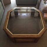 Wood/Glass coffee table and end table in Schaumburg, Illinois