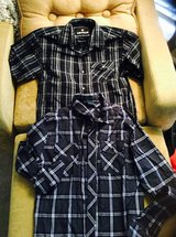 Boys 10/12 shirts button down short and one longsleeve in Kingwood, Texas