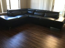 Black Leather Sectional Couch in Temecula, California