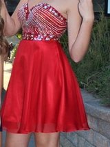 "Red ""Anny Lee"" homecoming dress with rhinestones(sparkles) in Lockport, Illinois"