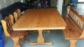Solid wood table, bench and chairs in Fairfax, Virginia