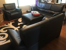 Leather sofa, love seat, chair and ottoman in Huntsville, Alabama