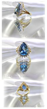 18K Yellow Gold, Blue Topaz and Diamond Ring, approx 6.5ctw in Camp Lejeune, North Carolina